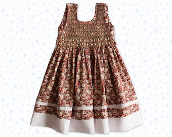 girl's dress was smocked sleeveless embroidery, beige, floral dress