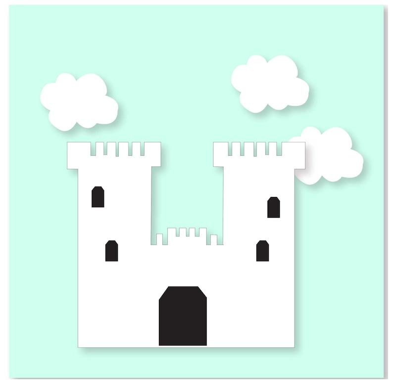 Fairytale Castle Nursery-Nursery Wall Art-Dragon Nursery Decor-Castle and Dragon Nursery Decor-Knight Nursery Art-Mint Nursery-Boy Nursery