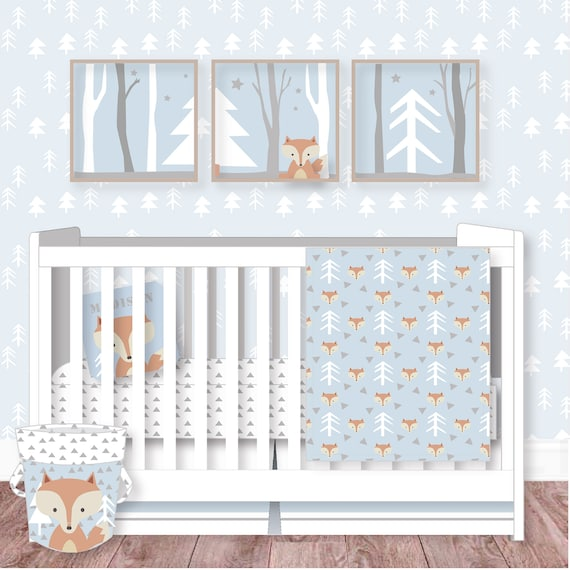 Woodland Nursery Fox Nursery Bedding Woodland Crib Etsy