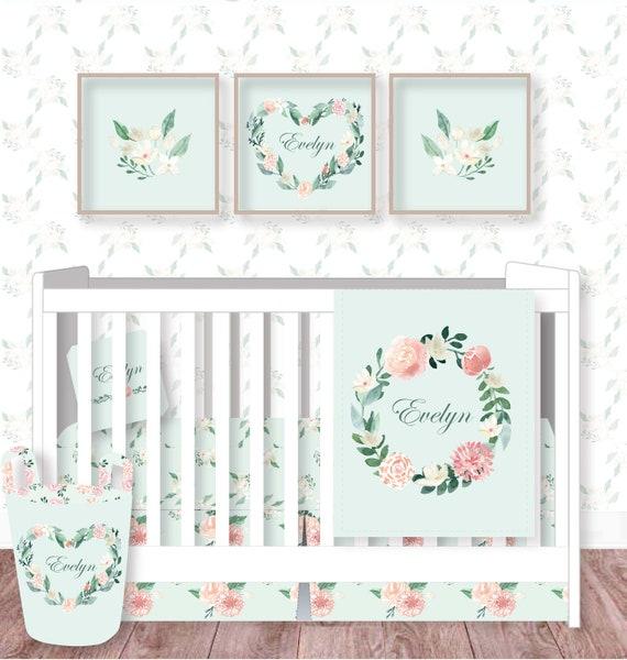 Baby Girl Boho Nursery Fl, Pink And Mint Nursery Bedding