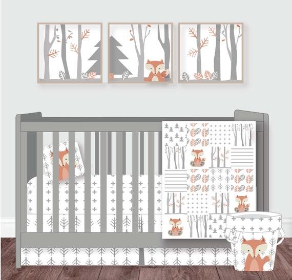 Woodland Nursery Baby Crib Bedding Woodland Crib Set Neutral Etsy