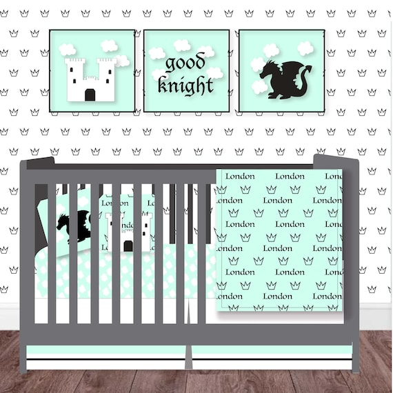Fairytale Castle Nursery-Personalized Baby Blanket-Knight and Dragon Baby Blanket Set-Princess Baby Blanket Set-Mint Minky Baby Blanket