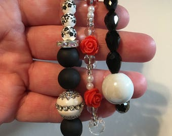 3 Stack-able Bracelets- Black and Roses Set