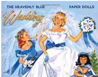 Heavenly Blue Wedding Paper Dolls
