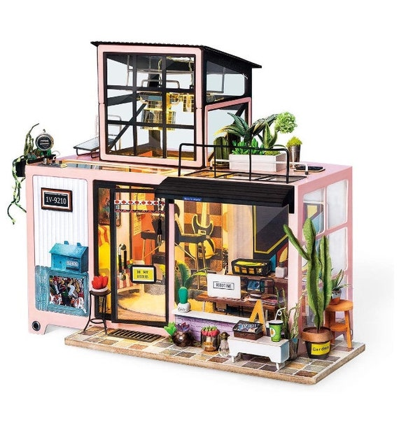 DIY Handcraft Miniature Dollhouse Kit with LED Lights /& Cover Charles/'s Room