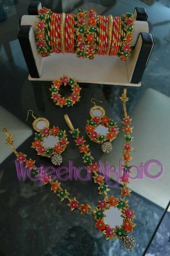 Floral Gota Jewellery Set For Haldi Mehndi Or Mayon Etsy