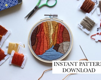 PATTERN ONLY - The Narrows, Zion National Park - DIY, craft, embroidery, guide, utah, national park