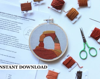 PATTERN + GUIDE: Delicate Arch, Arches National Park Beginner Embroidery Pattern - DIY, download, pattern
