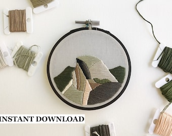 PATTERN - Half Dome, Yosemite National Park, download, DIY, embroidery