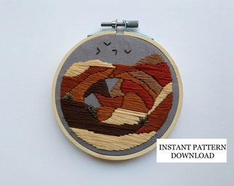 PATTERN ONLY - Double Arch, Arches National Park Embroidery Pattern; diy, crafts, embroidery, art, handmade, utah