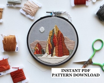 PATTERN ONLY - Temple of the Sun and Moon, Capitol Reef National Park: embroidery, embroidery kit, national park, utah, DIY, crafts