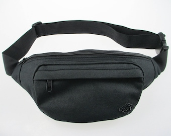Black Fanny Pack for Women and Men- durable, built-in wallet for cards and money, water resistant, perfect waist pack for travel