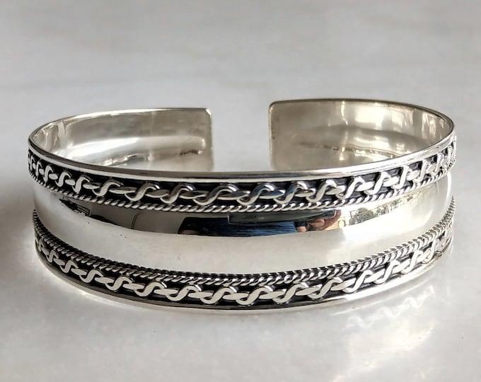 Wide sterling silver bracelet for women / Large silver cuff bracelet solid silver bracelet adjustable bracelet womens gift bracelet for her