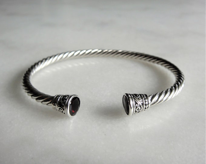 Solid sterling silver mens bracelet set with 2 beautiful garnet stones / Cuff bracelet bangle bracelet silver twisted cuff gemstone bracelet
