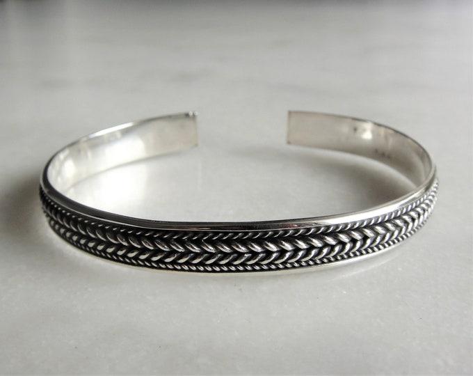 Mens bracelet sterling silver adjustable / Sterling silver bracelet for men solid silver bracelet ethnic cuff bracelet bangle bracelet