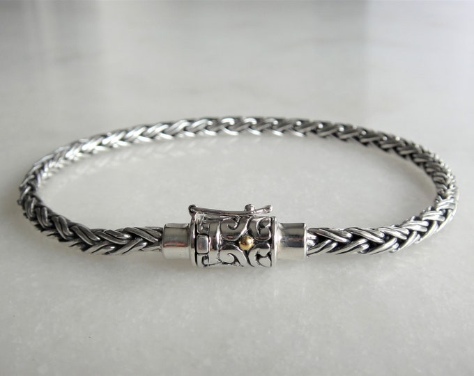 Elegant mens bracelet sterling silver braided chain with a touch of 18k gold on clasp / 925 silver bracelet for men handmade jewel gift