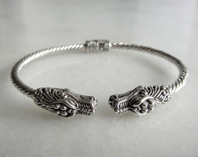 Gorgeous sterling silver bracelet for men with dragon heads / Dragon bracelet cuff bracelet mens bracelet bangle bracelet twisted bracelet