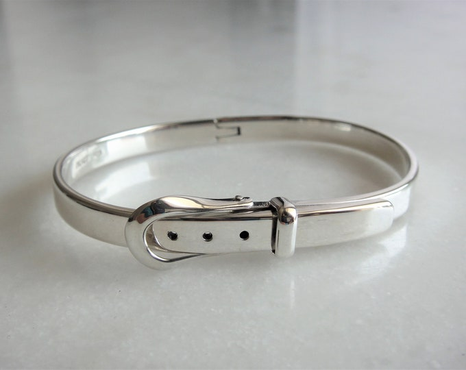 Sterling silver bracelet adjustable in the shape of a belt buckle / Unisex sterling silver bracelet birthday solid silver bangle bracelet