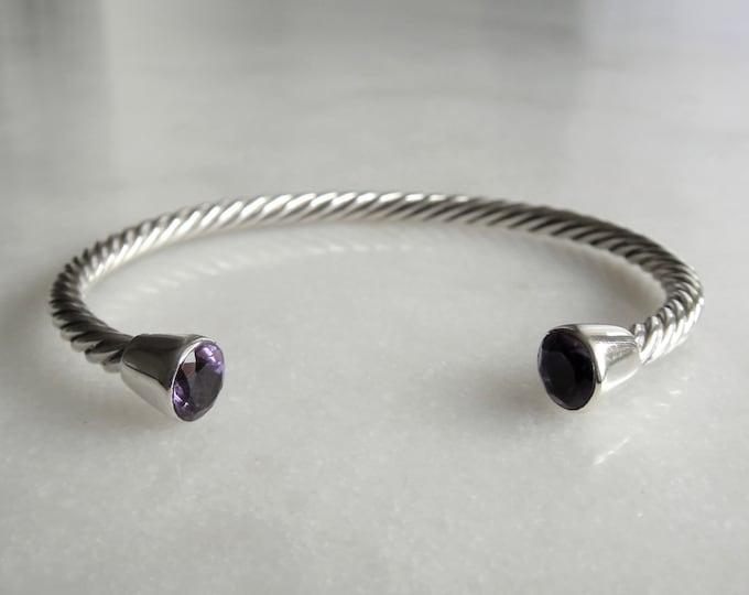 Solid sterling silver bracelet set with 2 beautiful amethyst stones / Cuff bracelet bangle bracelet silver twisted cuff gemstone bracelet