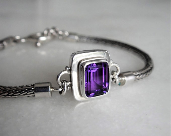 Gorgeous bracelet made of sterling silver set with beautiful big purple amethyst / Elegant snake chain 925 silver bracelet handmade gift