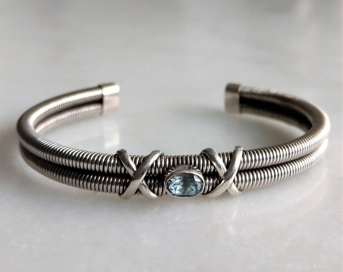 Beautiful sterling silver cuff bracelet set with genuine topaz / Man bracelet silver bracelet mens bracelet silver bracelet for men bangle