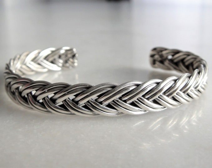 Braided bracelet sterling silver adjustable / Silver cuff bracelet sterling silver bracelet for men silver bracelet mens bangle bracelet