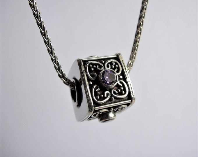 Mens pendant made of sterling silver and purple amethyst gemstone / Sterling silver pendant amethyst pendant ethnic jewelry pendant for men