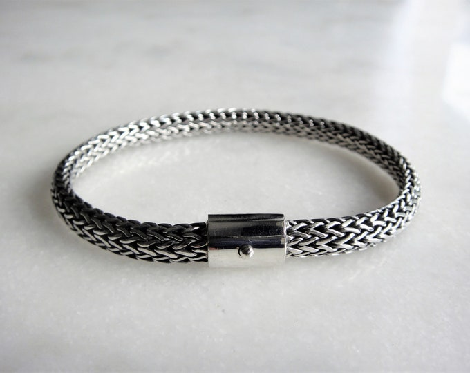 Mens bracelet made of sterling silver / Sterling silver bracelet for men solid silver bracelet ethnic chain bracelet tulang naga bracelet