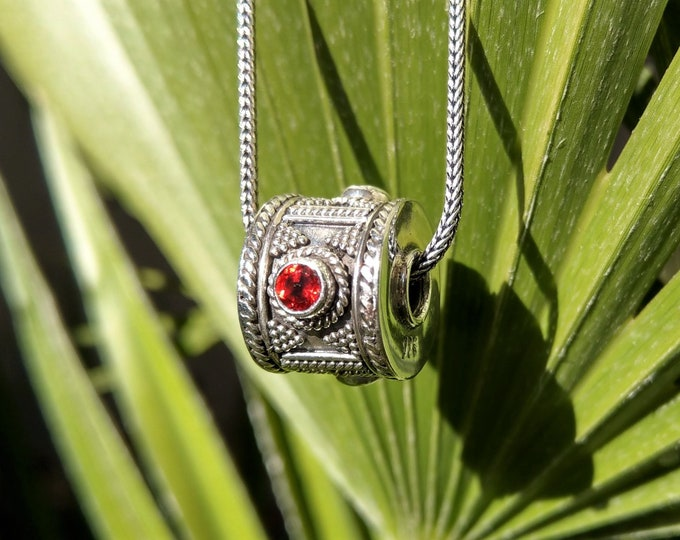 Mens pendant made of sterling silver and gemstone / Sterling silver pendant red garnet pendant precious gift for him mens silver pendant