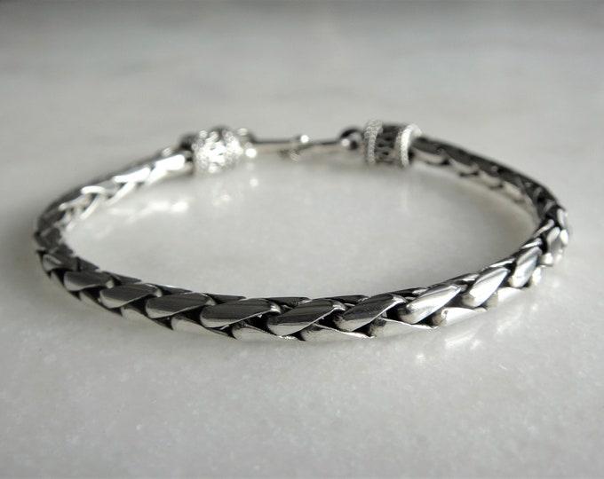 Mens bracelet sterling silver elegant snake chain link hook clasp / 925 silver bracelet for men chain bracelet mens jewel gift handmade