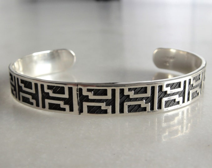 Cuff bracelet for men made of sterling silver / Adjustable mens bracelet solid silver ethnic cuff bracelet bangle bracelet celtic bracelet