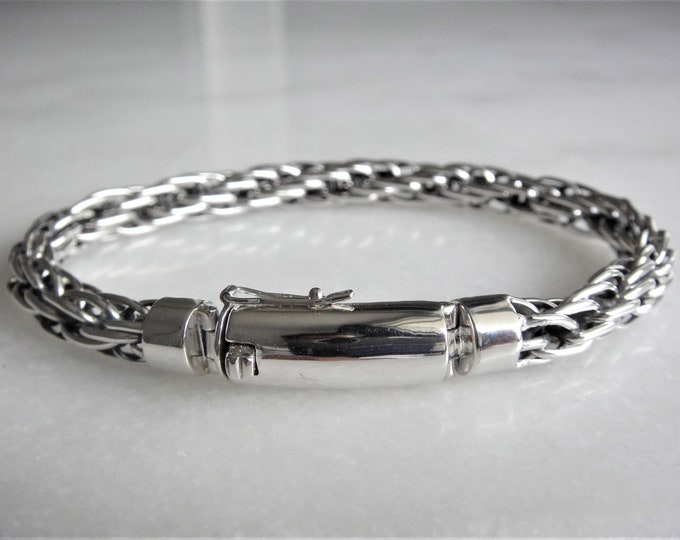 Mens silver bracelet 8' chain with rectangular clasp / Mens sterling silver bracelet for men chain bracelet mens jewel handmade gift friend
