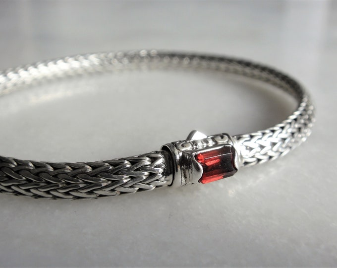 Gorgeous mens bracelet sterling silver elegant snake chain link set with beautiful red garnet / 925 silver bracelet for men handmade jewel
