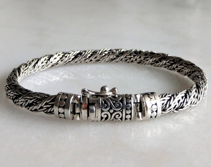 Gorgeous mens bracelet made of sterling silver with double chain / 925 silver bracelet for men handmade mens jewel birthday gift for him