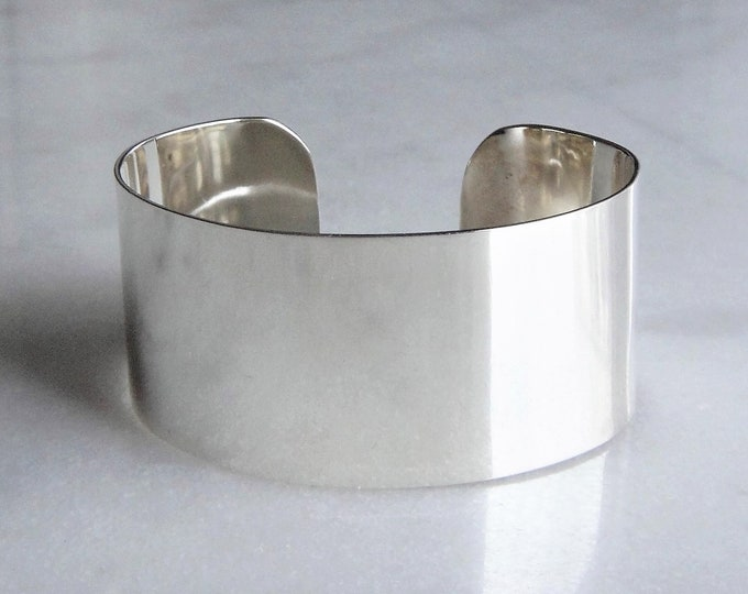 Wide sterling silver bracelet for women / large silver cuff bracelet solid silver bracelet thick heavy big bracelet womens bracelet for her
