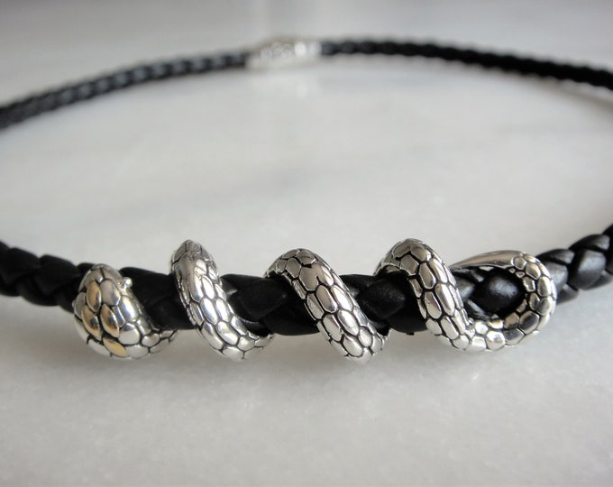 Mens necklace leather and sterling silver snake pendant / Braided black leather necklace silver pendant solid silver necklace snake necklace