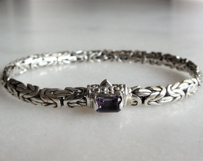 Beautiful mens bracelet made of sterling silver set with purple amethyst byzantine chain / 925 silver bracelet for men handmade jewel