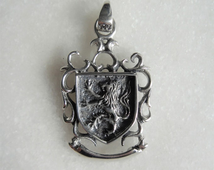 Mens pendant made of gorgeous sterling silver lion shield / Sterling silver pendant for men silver mens pendant coat of arms pendant gift