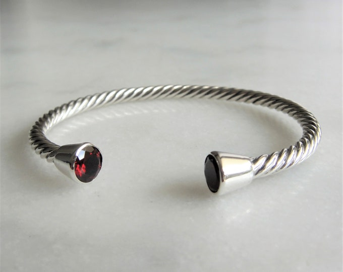 Solid sterling silver bracelet set with 2 beautiful garnet stones / Cuff bracelet bangle bracelet silver twisted cuff gemstone bracelet