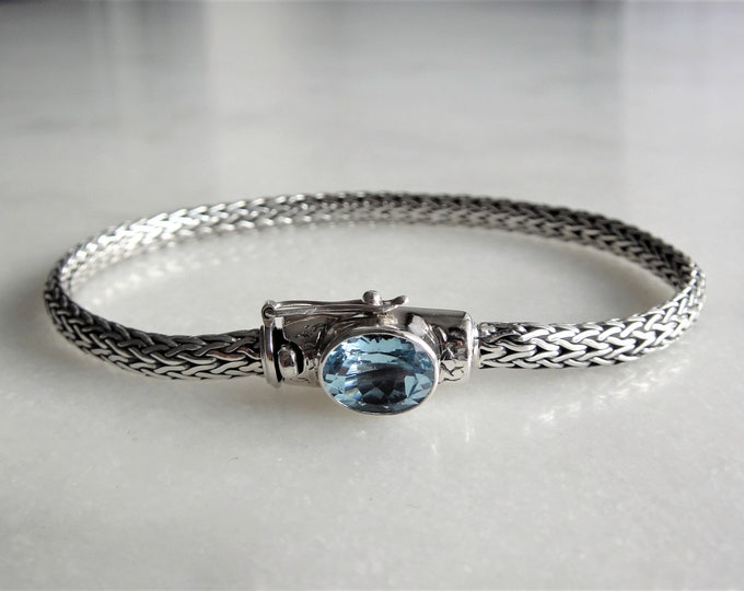 Gorgeous mens bracelet sterling silver elegant snake chain link set with beautiful blue topaz / 925 silver bracelet for men handmade gift