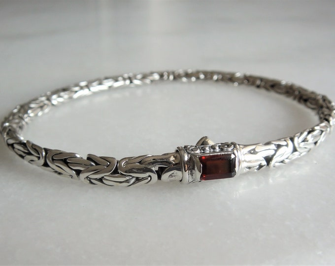 Mens bracelet made of sterling silver set with red garnet byzantine chain / 925 silver bracelet for men handmade jewel bali bracelet