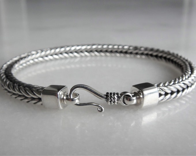High quality mens bracelet sterling silver elegant hook clasp / 925 silver bracelet for men chain bracelet handmade mens jewel mens gift
