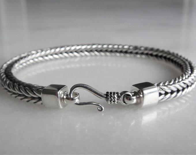 High quality mens bracelet sterling silver elegant hook clasp / 925 silver bracelet for men chain bracelet handmade mens jewel mens gift