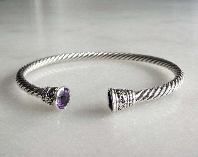 Solid sterling silver bracelet set with 2 beautiful amethyst stones / Cuff bracelet bangle bracelet silver twisted cuff gemstone bracelet