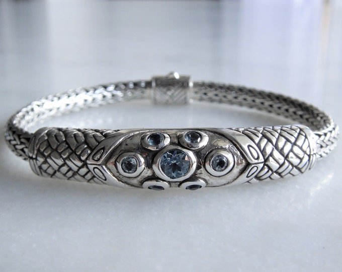 Gorgeous mens bracelet sterling silver elegant snake chain set with topaz / 925 silver bracelet for men women handmade silver medieval jewel