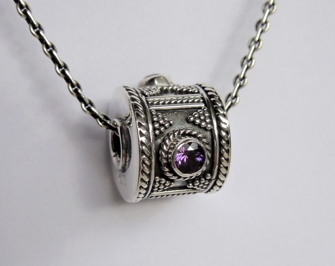 Sterling silver pendant with gemstone / Silver and amethyst pendant precious gift unisex pendant mens pendant womens pendant ethnic jewel