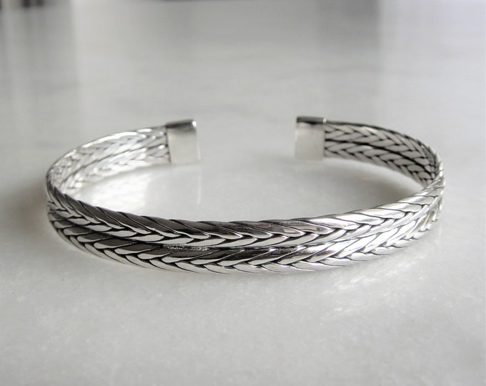 Cuff bracelet for men made of sterling silver / Adjustable mens bracelet solid silver ethnic cuff bracelet bangle bracelet braided bracelet