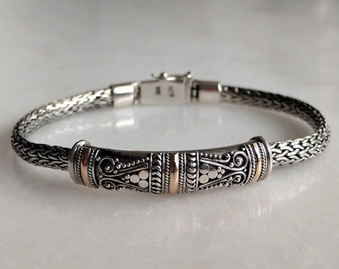 Gorgeous mens bracelet made of sterling silver and 18k gold accents / Elegant snake chain link 925 silver bracelet for men gift for him