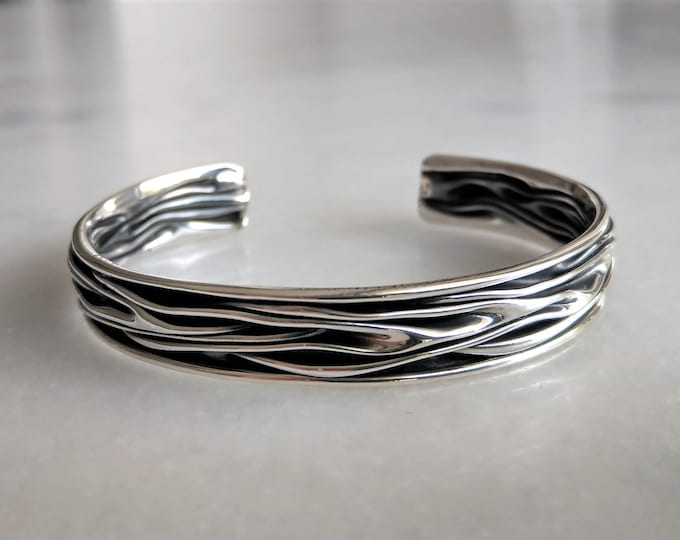 Womens bracelet sterling silver adjustable / Oxidized sterling silver bracelet for women solid silver bracelet cuff bracelet bangle bracelet
