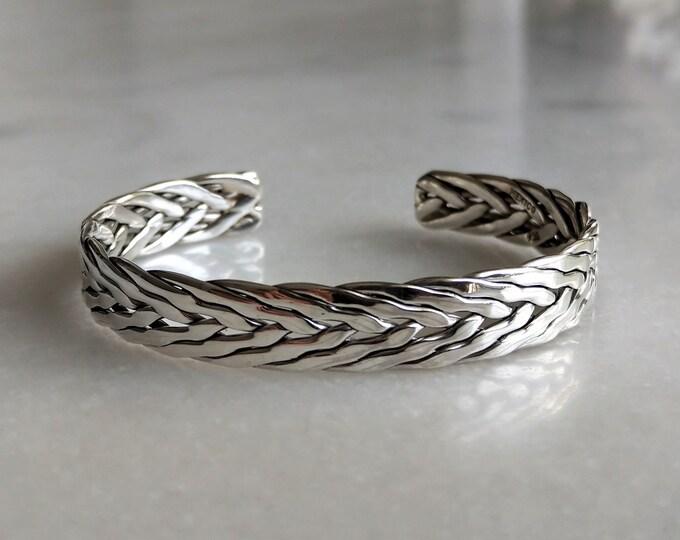 Braided bracelet sterling silver adjustable / Shiny silver cuff bracelet sterling silver bracelet for men silver bracelet mens bangle